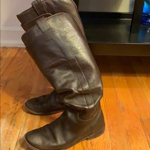 Frye Paige Black-Brown Riding Boots